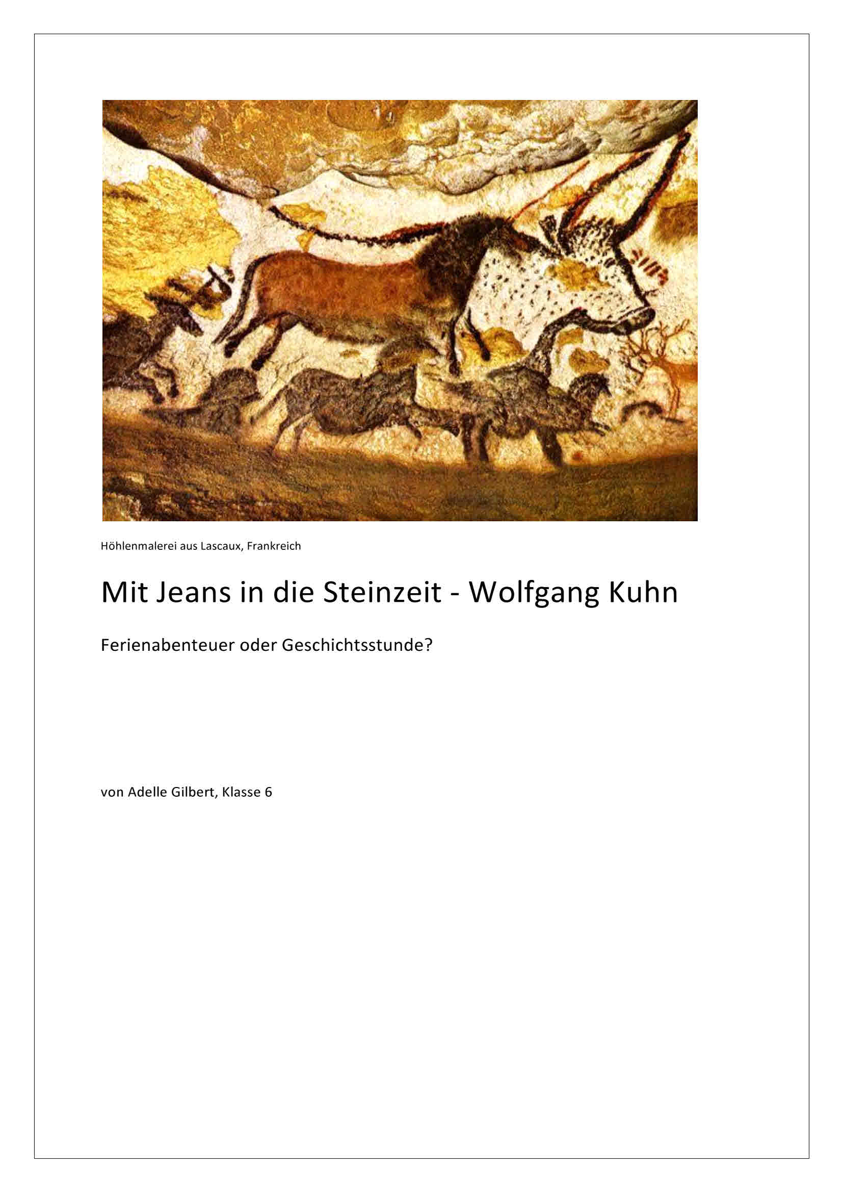 Lesetagebuch - Mit Jeans in die Steinzeit